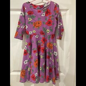 Polarn O Pyret Purple dress with flowers size 6-8